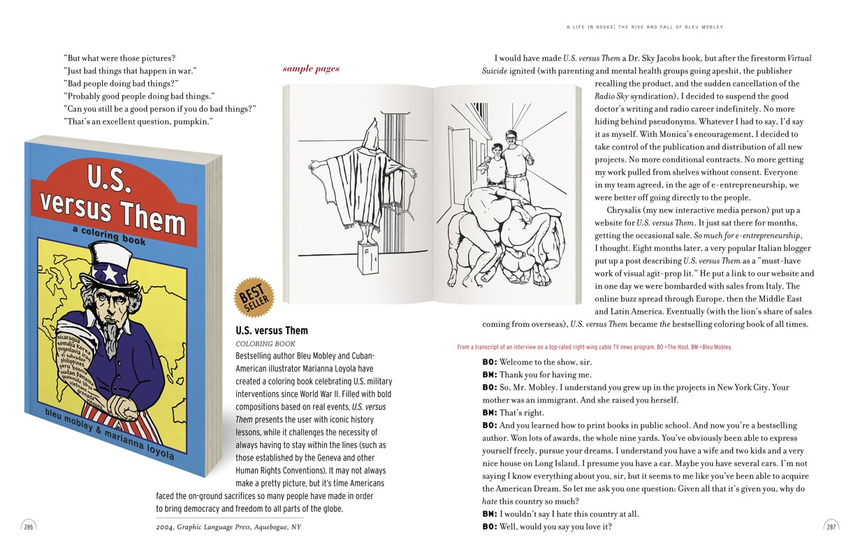 """Page spread featuring Bleu Mobley's coloring book US versus Them """"celebrating US military interventions since World War 2"""