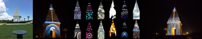 SCAD works for the Digital Graffiti exhibition at Alys Beach, Florida, June 2015. Projection Mapping