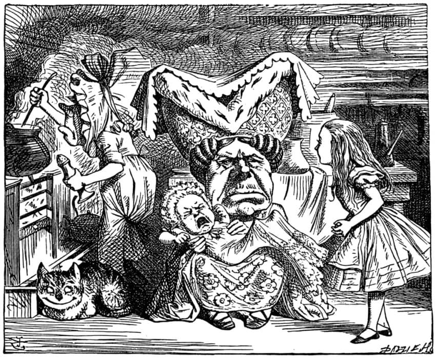 "One of the iconic John Tenniel illustrations published in 1865 in ""Alice's Adventures in Wonderland"""