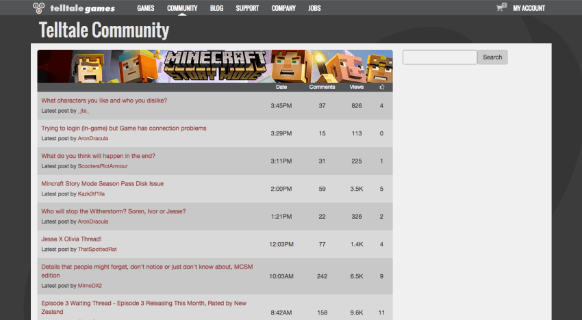 Telltale's community forum for Minecraft: Story Mode