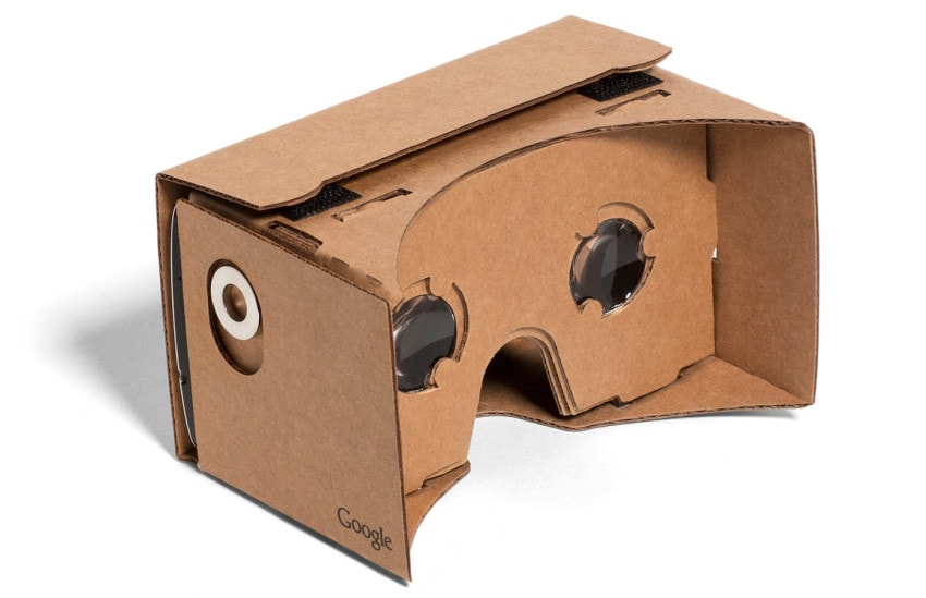 """Google Cardboard allows users to """"drop in"""" a smartphone for virtual reality experiences"""