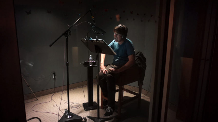 Pete Holmes recording the voice of Mr. Seed